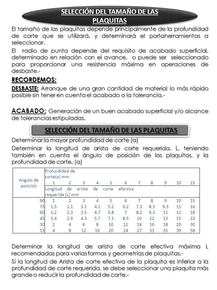 SELECCIÓN DEL TAMAÑO DE LAS PLAQUITAS