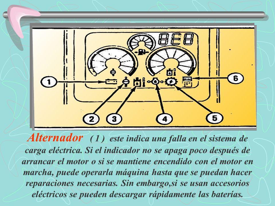 Alternador ( 1 ) este indica una falla en el sistema de carga eléctrica.