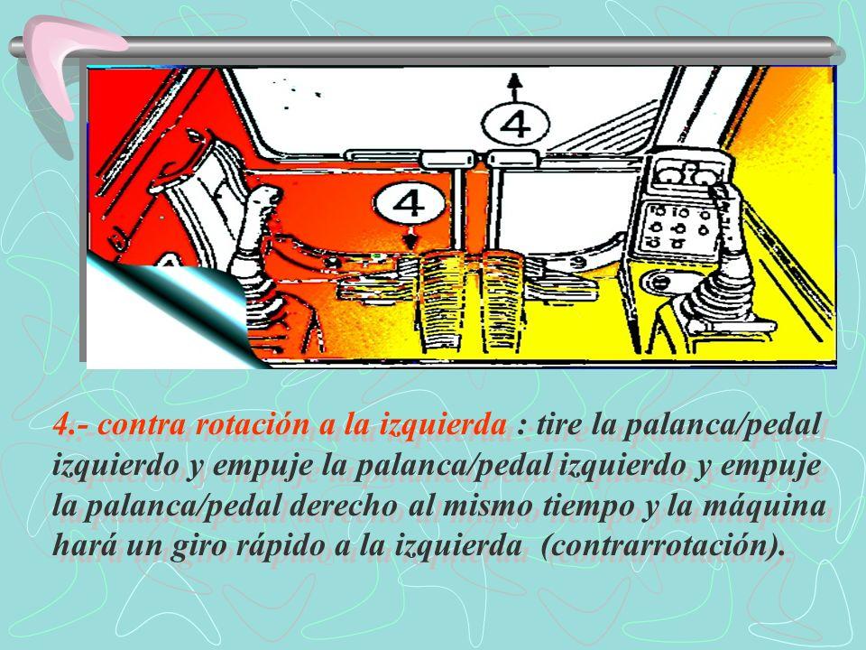 4.- contra rotación a la izquierda : tire la palanca/pedal izquierdo y empuje la palanca/pedal izquierdo y empuje la palanca/pedal derecho al mismo tiempo y la máquina hará un giro rápido a la izquierda (contrarrotación).