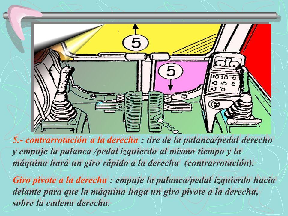 5.- contrarrotación a la derecha : tire de la palanca/pedal derecho y empuje la palanca /pedal izquierdo al mismo tiempo y la máquina hará un giro rápido a la derecha (contrarrotación).