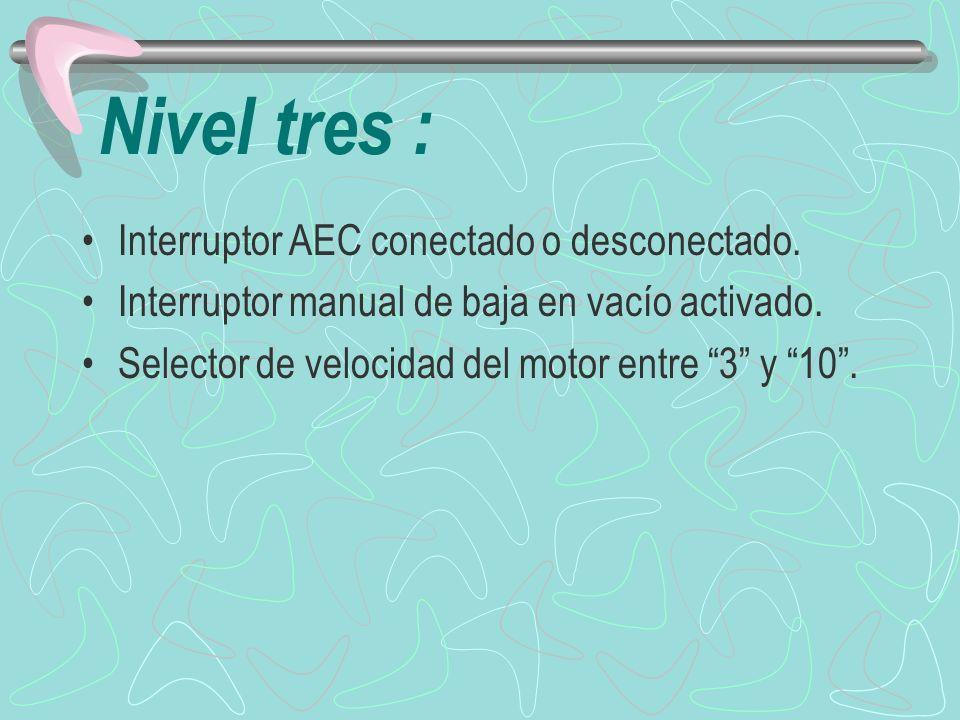Nivel tres : Interruptor AEC conectado o desconectado.