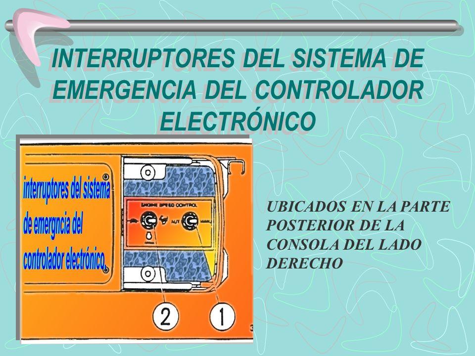 INTERRUPTORES DEL SISTEMA DE EMERGENCIA DEL CONTROLADOR ELECTRÓNICO