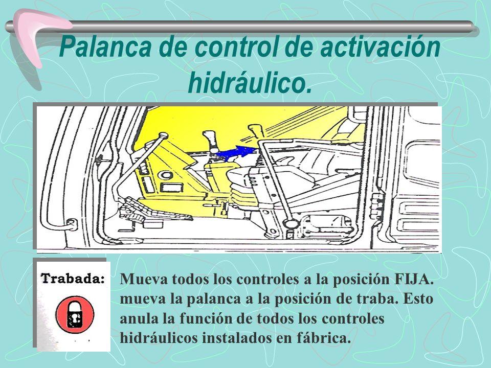 Palanca de control de activación hidráulico.
