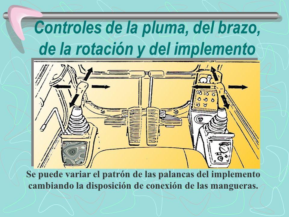 Controles de la pluma, del brazo, de la rotación y del implemento