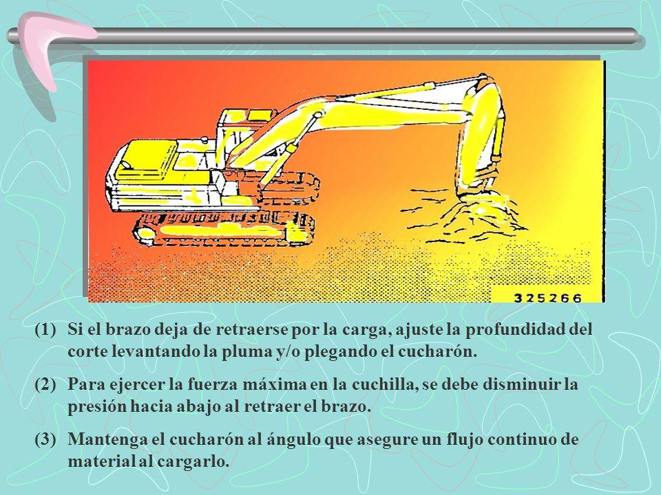 Si el brazo deja de retraerse por la carga, ajuste la profundidad del corte levantando la pluma y/o plegando el cucharón.