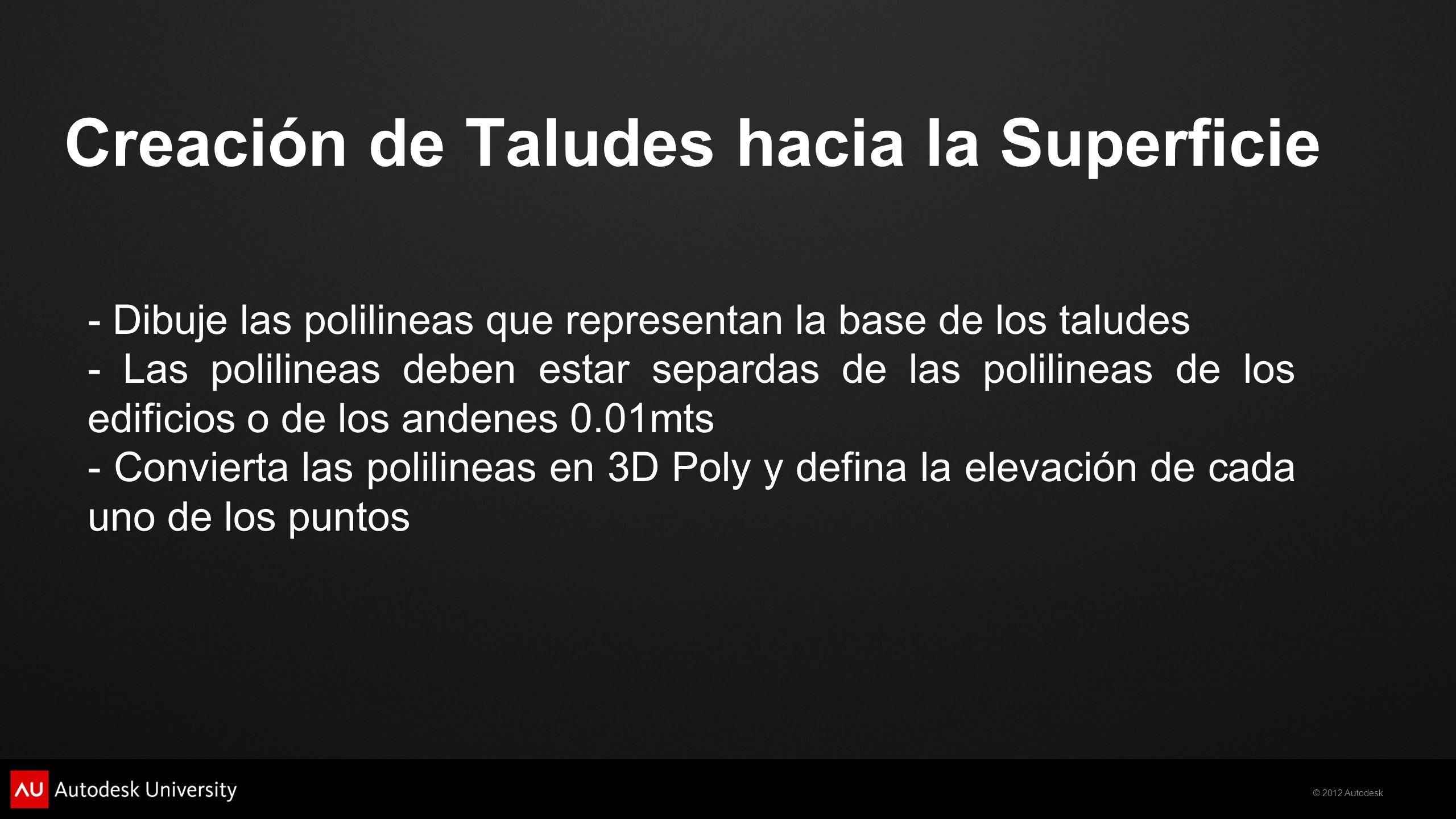 Creación de Taludes hacia la Superficie