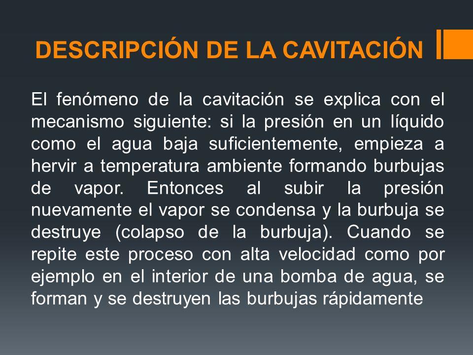 DESCRIPCIÓN DE LA CAVITACIÓN