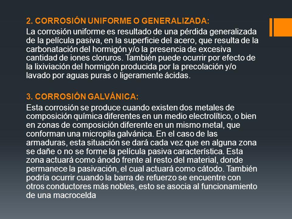 2. CORROSIÓN UNIFORME O GENERALIZADA: