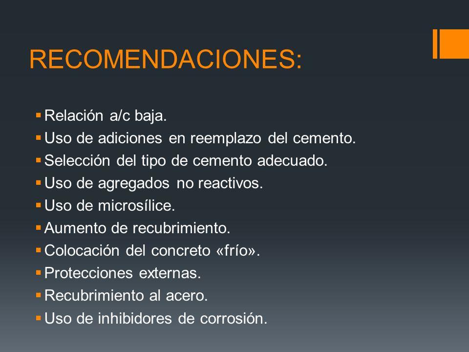 RECOMENDACIONES: Relación a/c baja.