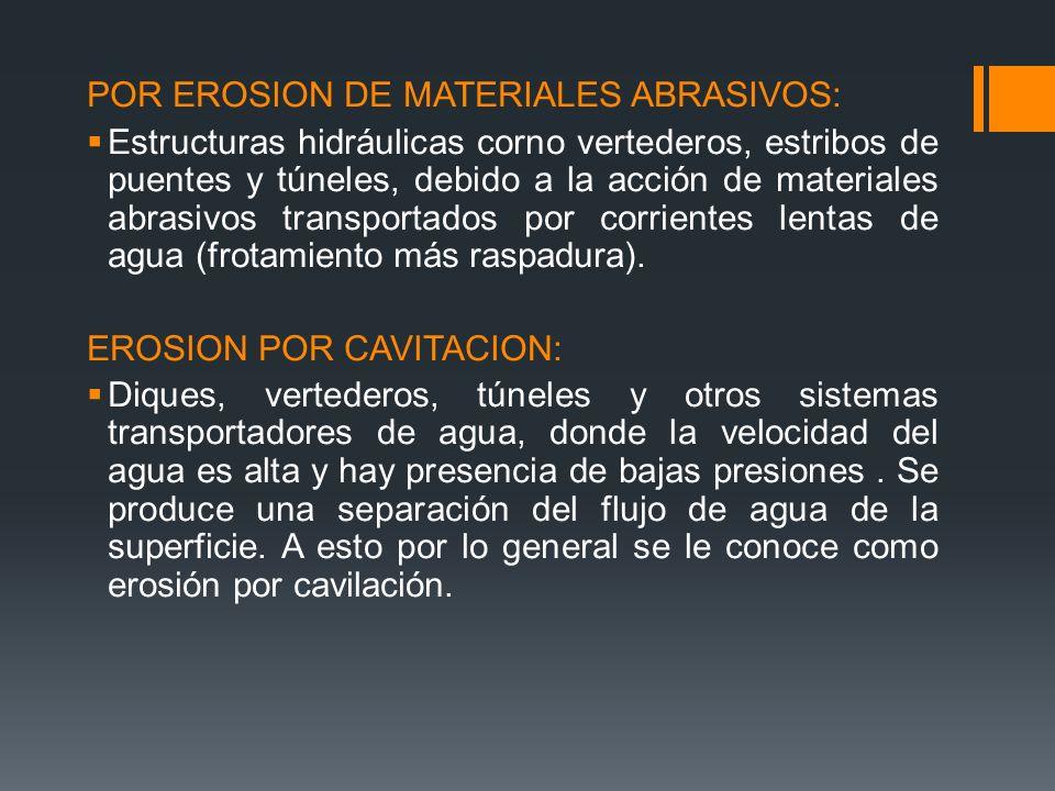 POR EROSION DE MATERIALES ABRASIVOS: