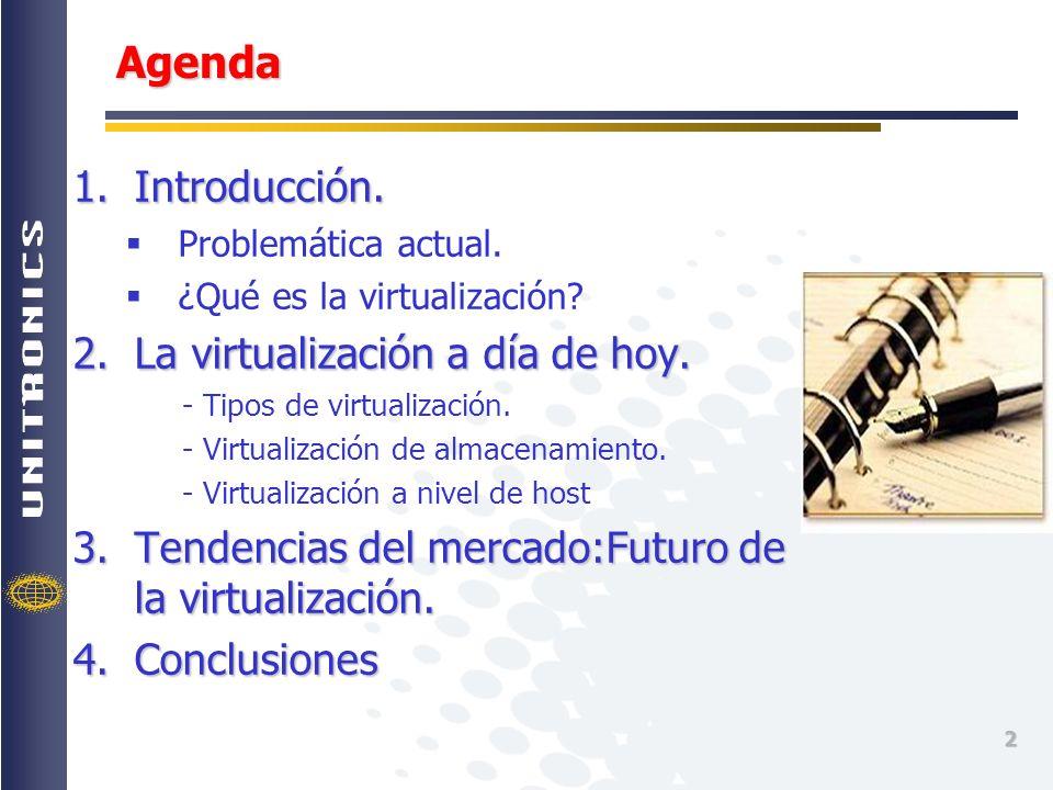 Agenda Introducción. La virtualización a día de hoy.