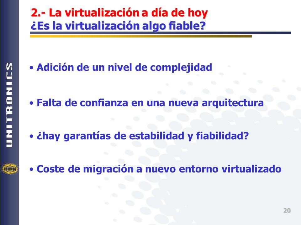 2.- La virtualización a día de hoy ¿Es la virtualización algo fiable