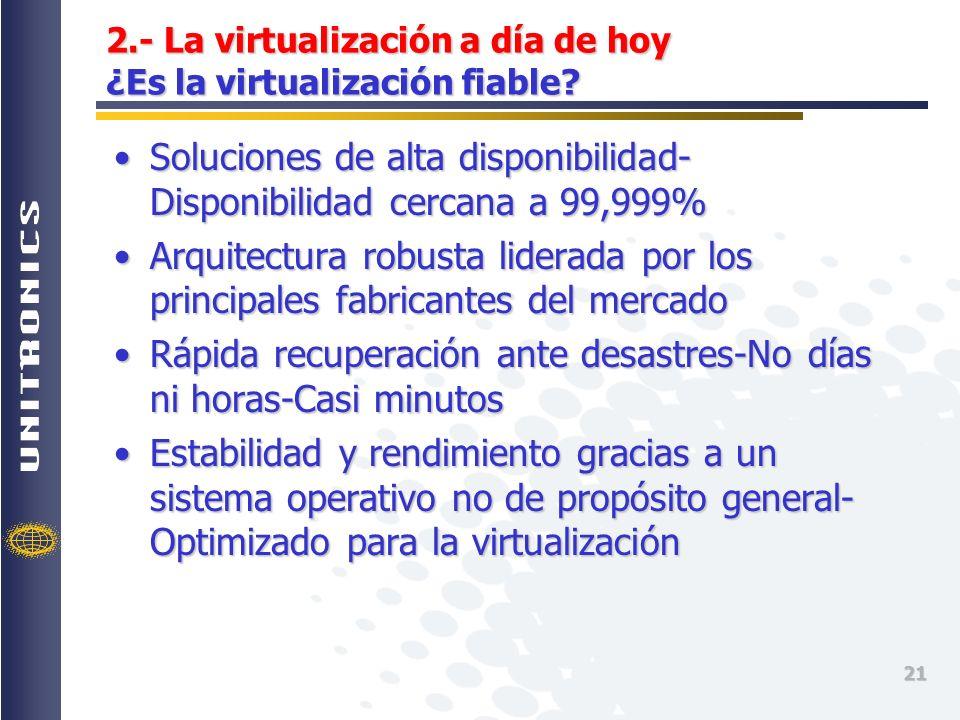 2.- La virtualización a día de hoy ¿Es la virtualización fiable