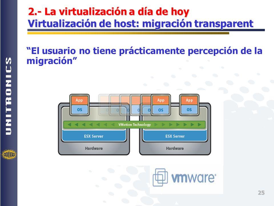 2.- La virtualización a día de hoy Virtualización de host: migración transparent