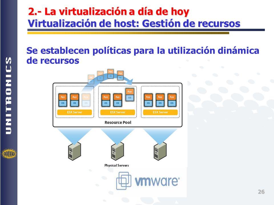 2.- La virtualización a día de hoy Virtualización de host: Gestión de recursos