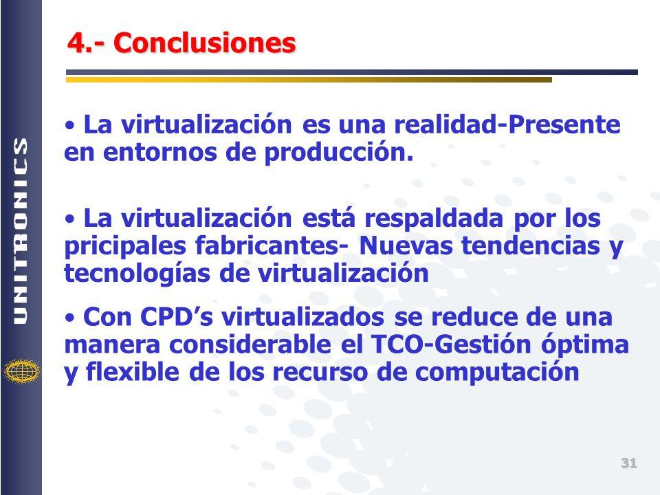 4.- Conclusiones La virtualización es una realidad-Presente en entornos de producción.