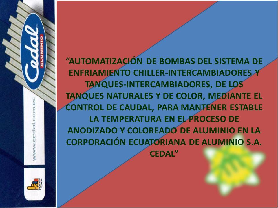 AUTOMATIZACIÓN DE BOMBAS DEL SISTEMA DE ENFRIAMIENTO CHILLER-INTERCAMBIADORES Y TANQUES-INTERCAMBIADORES, DE LOS TANQUES NATURALES Y DE COLOR, MEDIANTE EL CONTROL DE CAUDAL, PARA MANTENER ESTABLE LA TEMPERATURA EN EL PROCESO DE ANODIZADO Y COLOREADO DE ALUMINIO EN LA CORPORACIÓN ECUATORIANA DE ALUMINIO S.A.