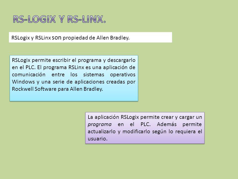 RS-LOGIX Y RS-LINX. RSLogix y RSLinx son propiedad de Allen Bradley.