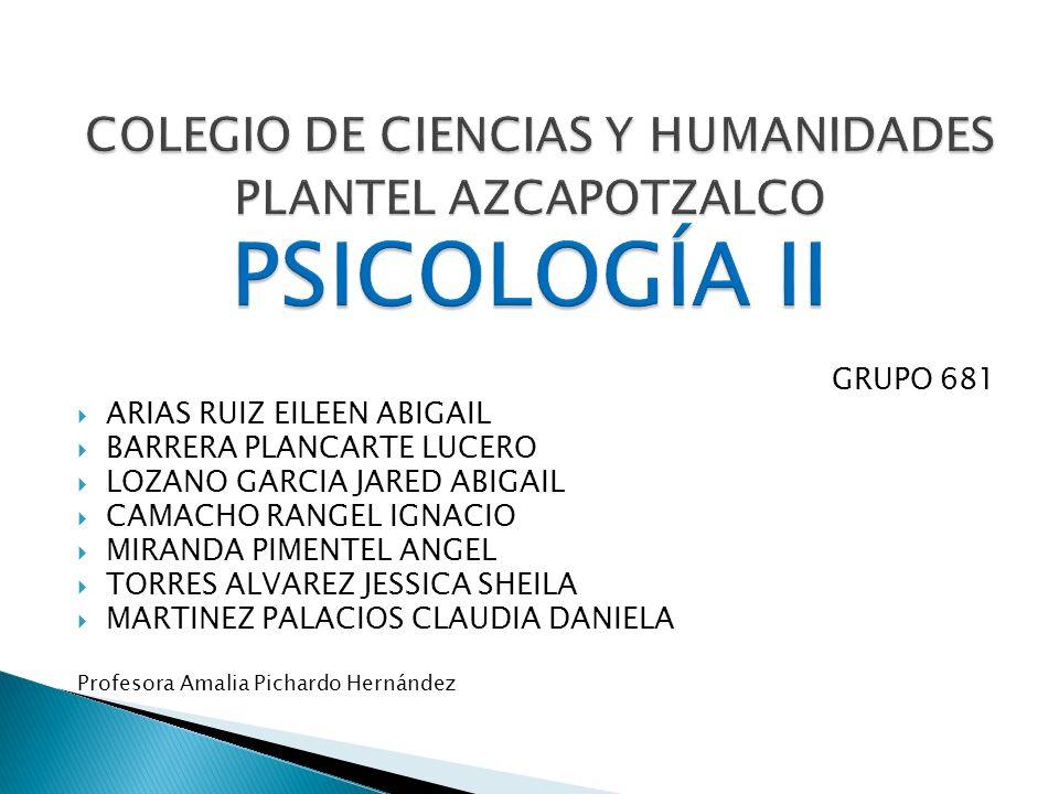 COLEGIO DE CIENCIAS Y HUMANIDADES PLANTEL AZCAPOTZALCO PSICOLOGÍA II