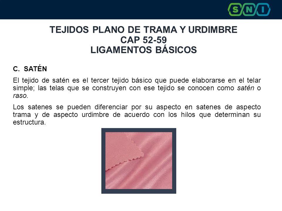 TEJIDOS PLANO DE TRAMA Y URDIMBRE CAP 52-59 LIGAMENTOS BÁSICOS