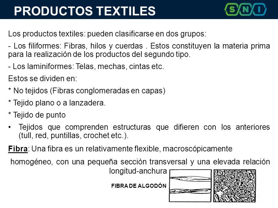 PRODUCTOS TEXTILES Los productos textiles: pueden clasificarse en dos grupos:
