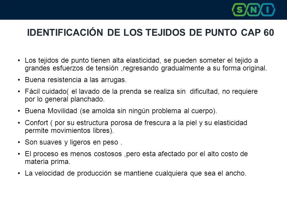 IDENTIFICACIÓN DE LOS TEJIDOS DE PUNTO CAP 60
