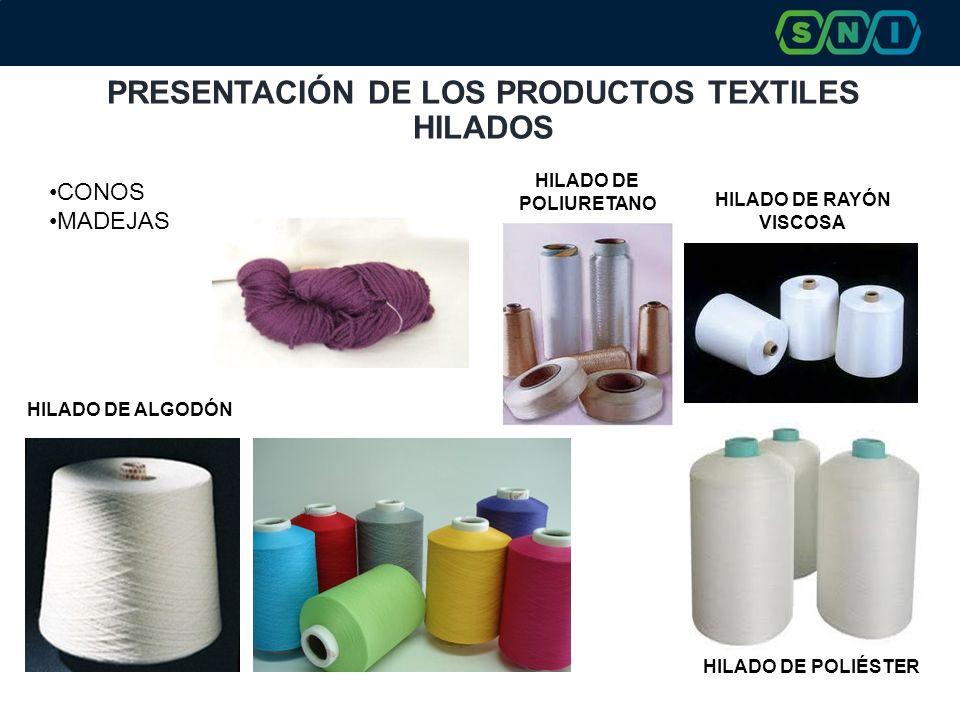 PRESENTACIÓN DE LOS PRODUCTOS TEXTILES HILADOS