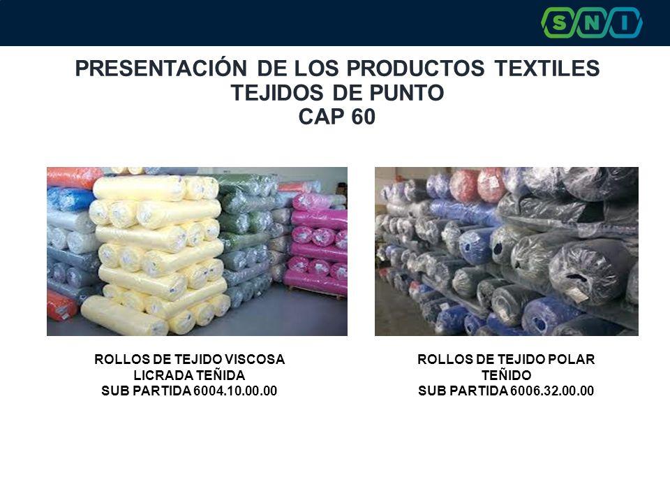 PRESENTACIÓN DE LOS PRODUCTOS TEXTILES TEJIDOS DE PUNTO CAP 60