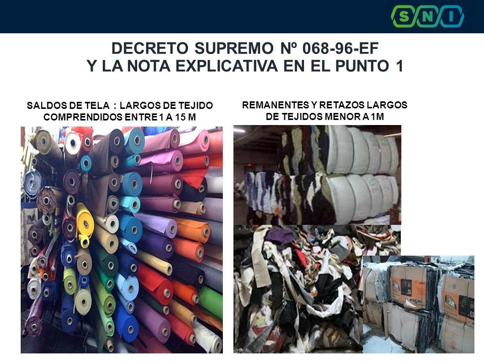 DECRETO SUPREMO Nº 068-96-EF Y LA NOTA EXPLICATIVA EN EL PUNTO 1