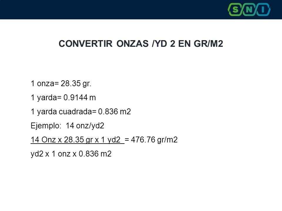 CONVERTIR ONZAS /YD 2 EN GR/M2