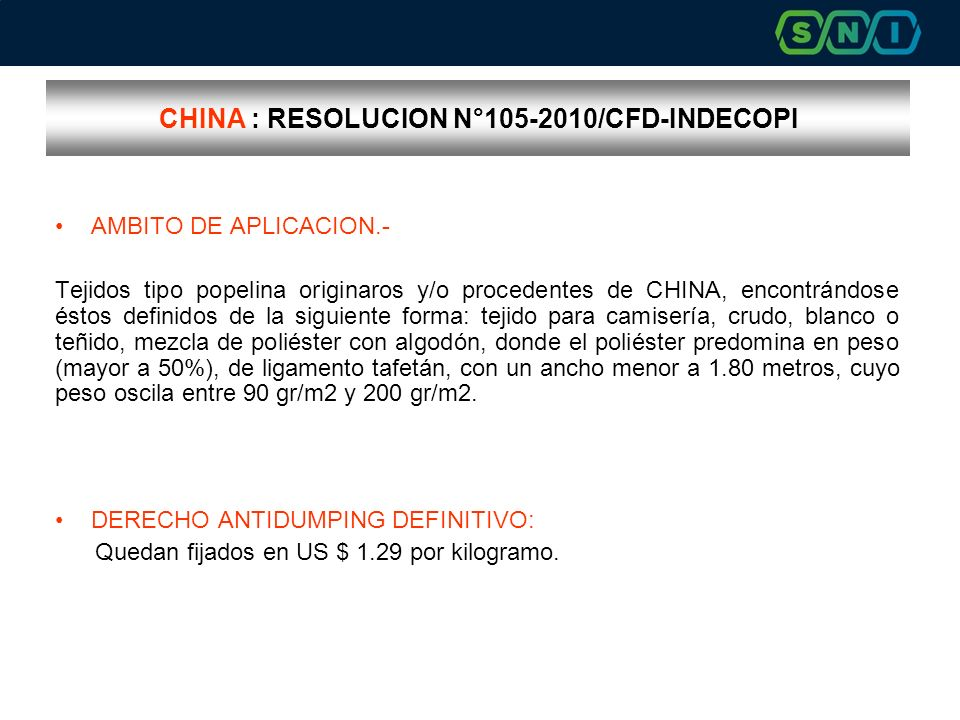 CHINA : RESOLUCION N°105-2010/CFD-INDECOPI
