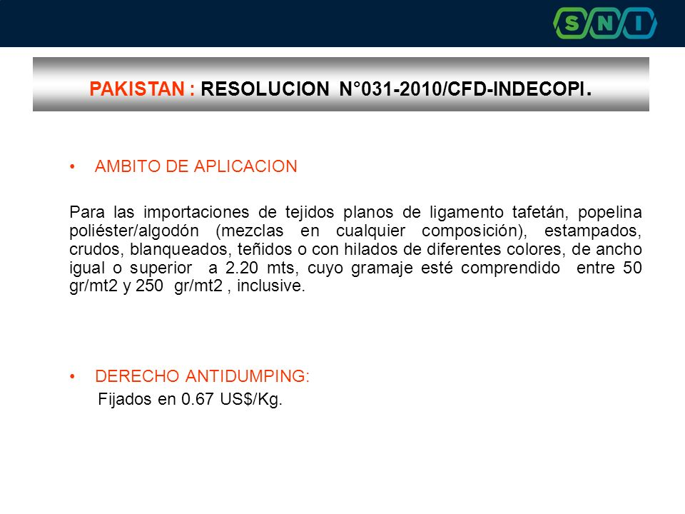 PAKISTAN : RESOLUCION N°031-2010/CFD-INDECOPI.