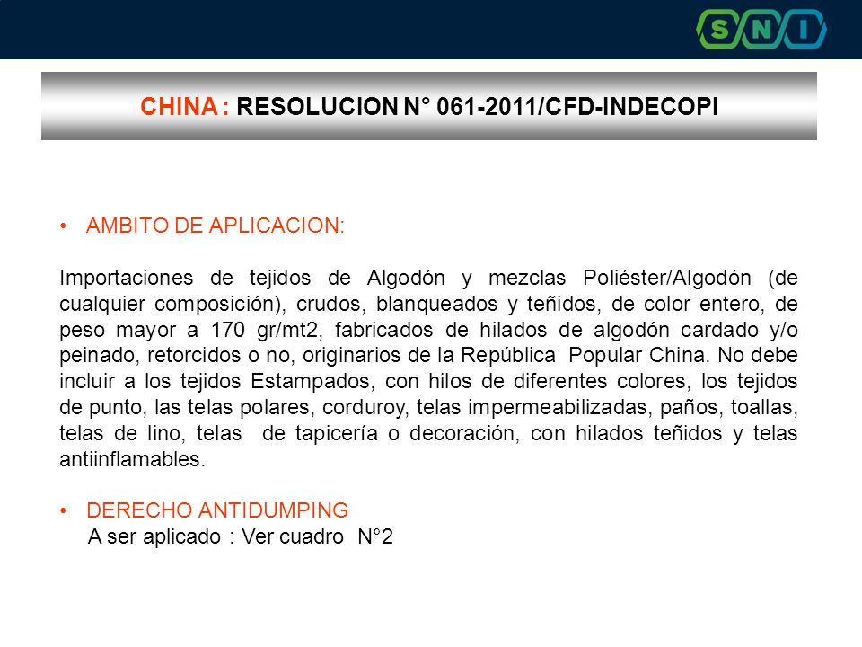 CHINA : RESOLUCION N° 061-2011/CFD-INDECOPI