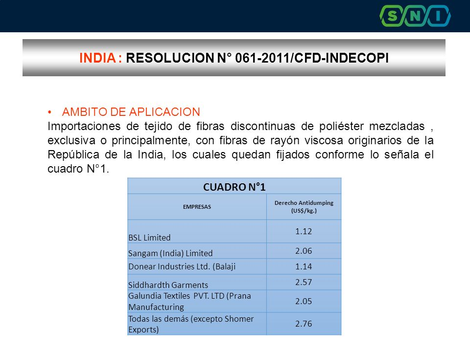 INDIA : RESOLUCION N° 061-2011/CFD-INDECOPI
