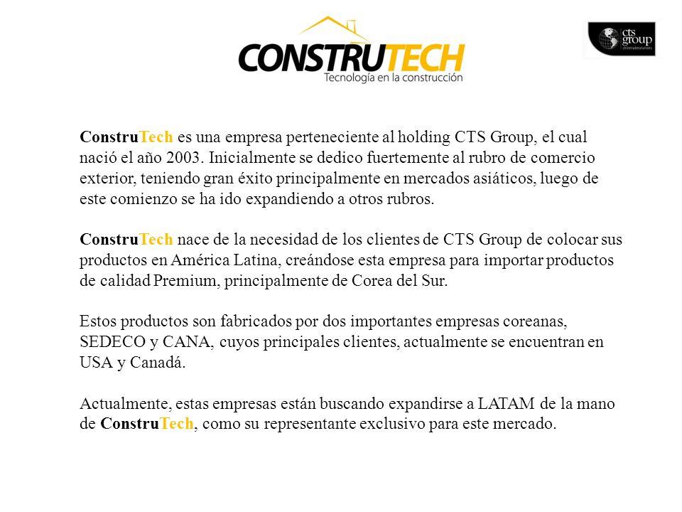 ConstruTech es una empresa perteneciente al holding CTS Group, el cual nació el año 2003. Inicialmente se dedico fuertemente al rubro de comercio exterior, teniendo gran éxito principalmente en mercados asiáticos, luego de este comienzo se ha ido expandiendo a otros rubros.
