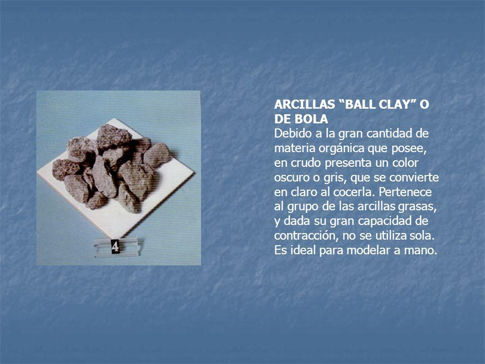ARCILLAS BALL CLAY O DE BOLA Debido a la gran cantidad de materia orgánica que posee, en crudo presenta un color oscuro o gris, que se convierte en claro al cocerla.