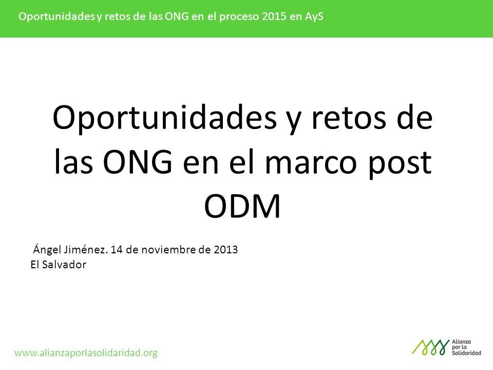 Oportunidades y retos de las ONG en el marco post ODM