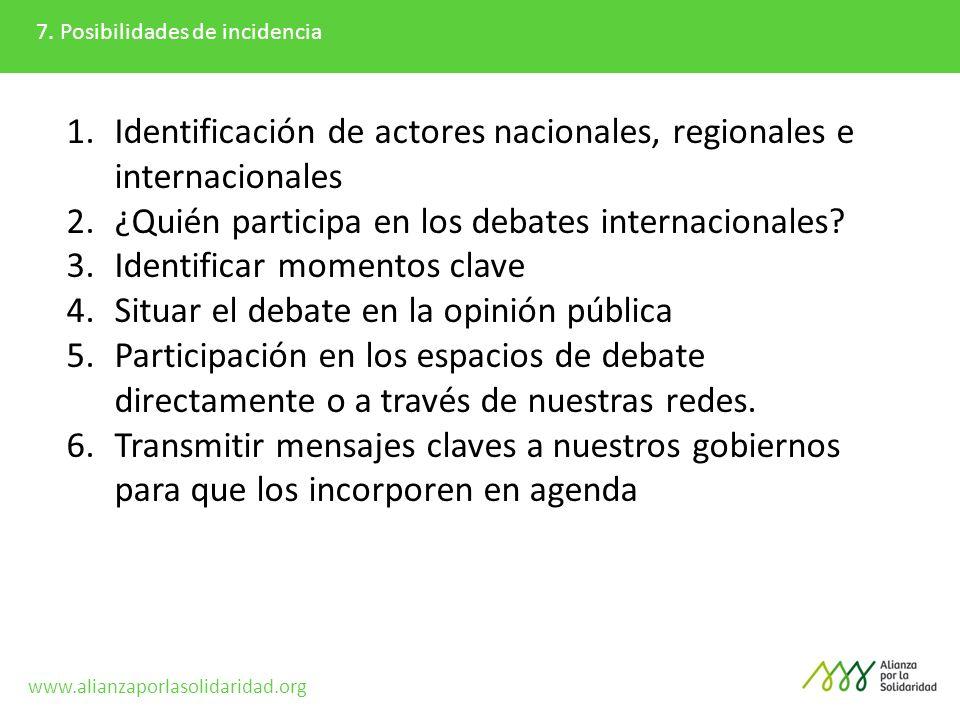 Identificación de actores nacionales, regionales e internacionales