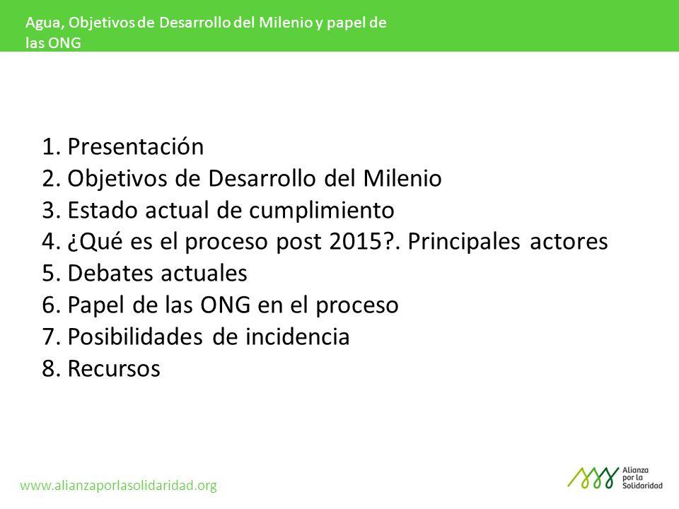 Objetivos de Desarrollo del Milenio Estado actual de cumplimiento