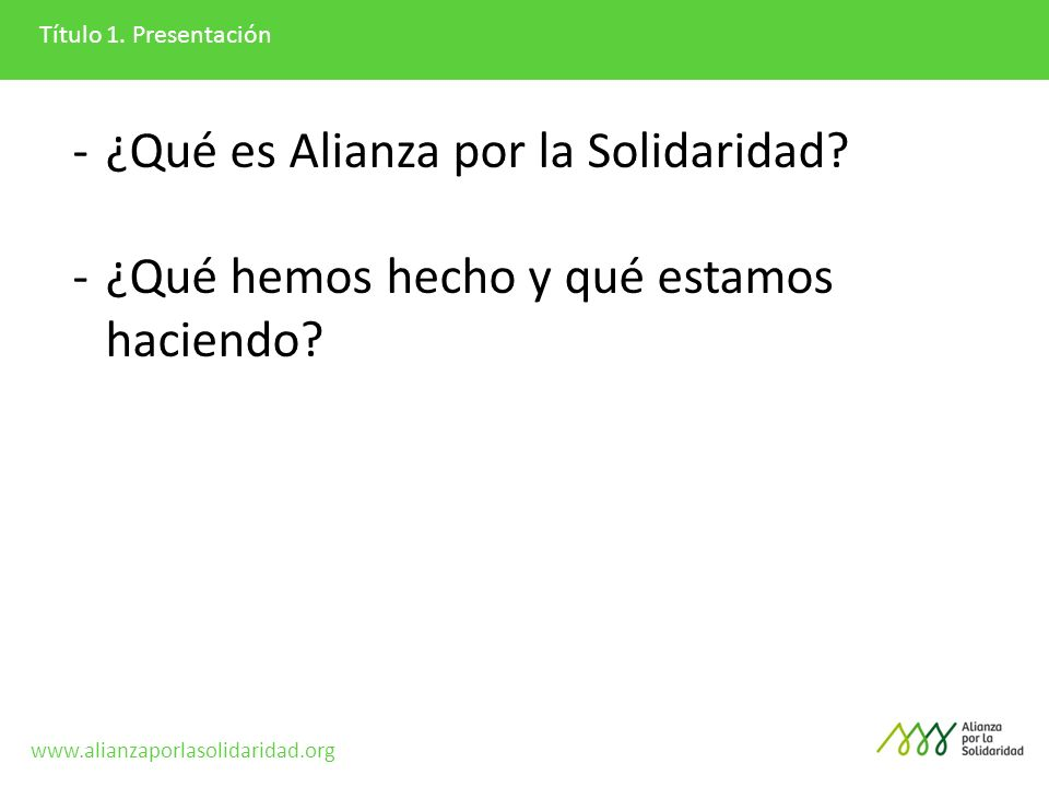 ¿Qué es Alianza por la Solidaridad