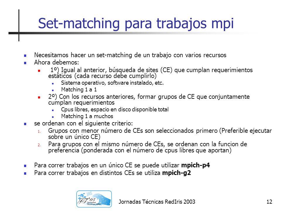 Set-matching para trabajos mpi