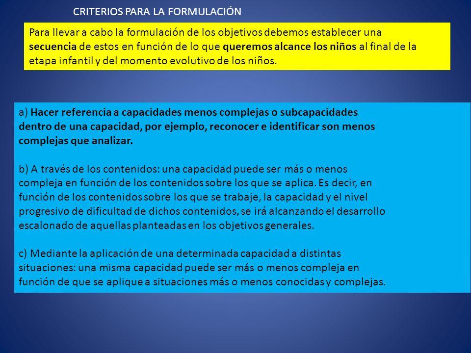 CRITERIOS PARA LA FORMULACIÓN
