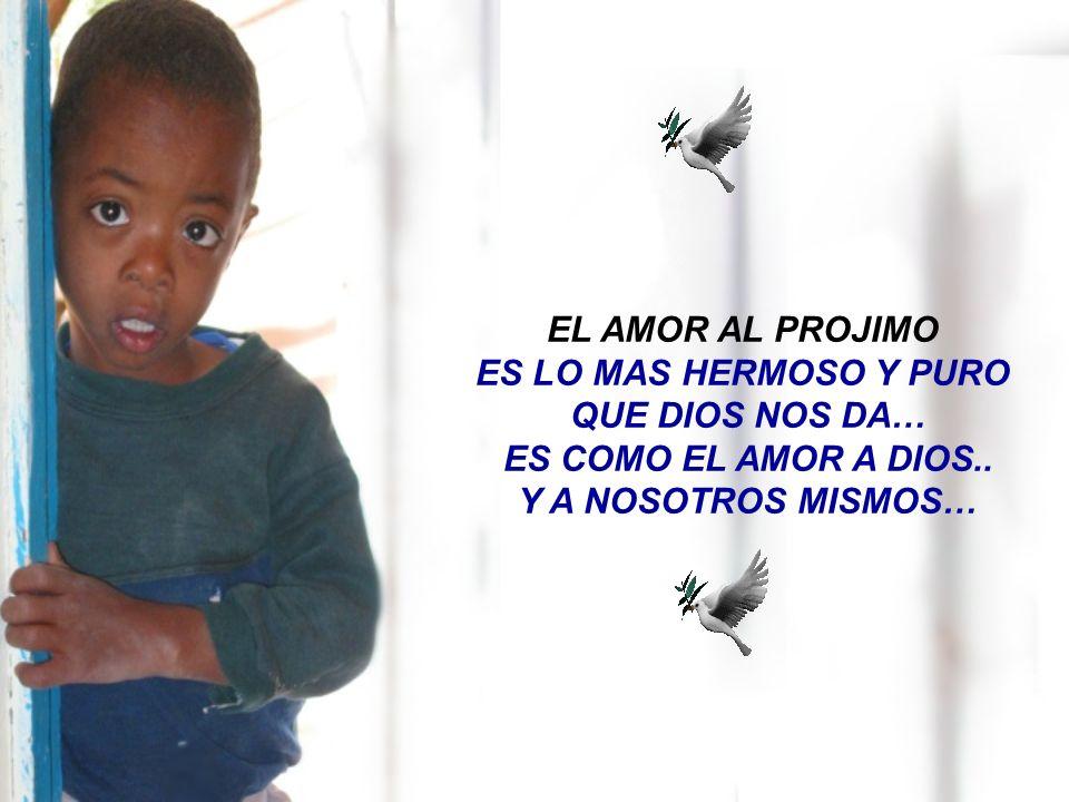EL AMOR AL PROJIMO ES LO MAS HERMOSO Y PURO. QUE DIOS NOS DA… ES COMO EL AMOR A DIOS..