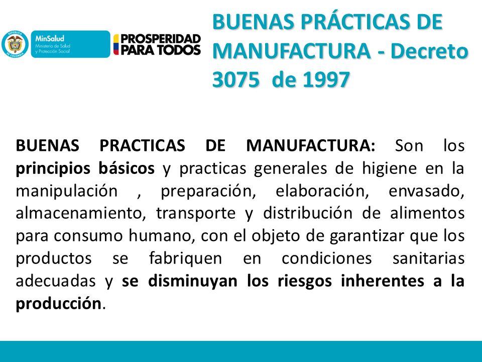 BUENAS PRÁCTICAS DE MANUFACTURA - Decreto 3075 de 1997