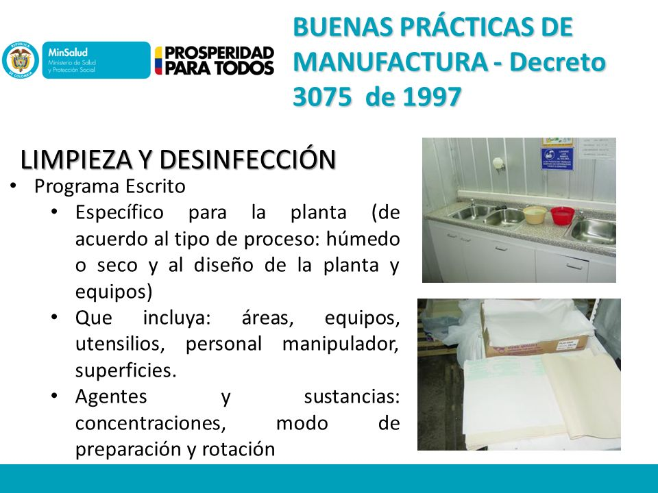 Subdirecci n de salud nutricional alimentos y bebidas for Limpieza y desinfeccion de equipos