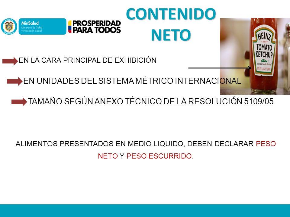 CONTENIDO NETO EN UNIDADES DEL SISTEMA MÉTRICO INTERNACIONAL