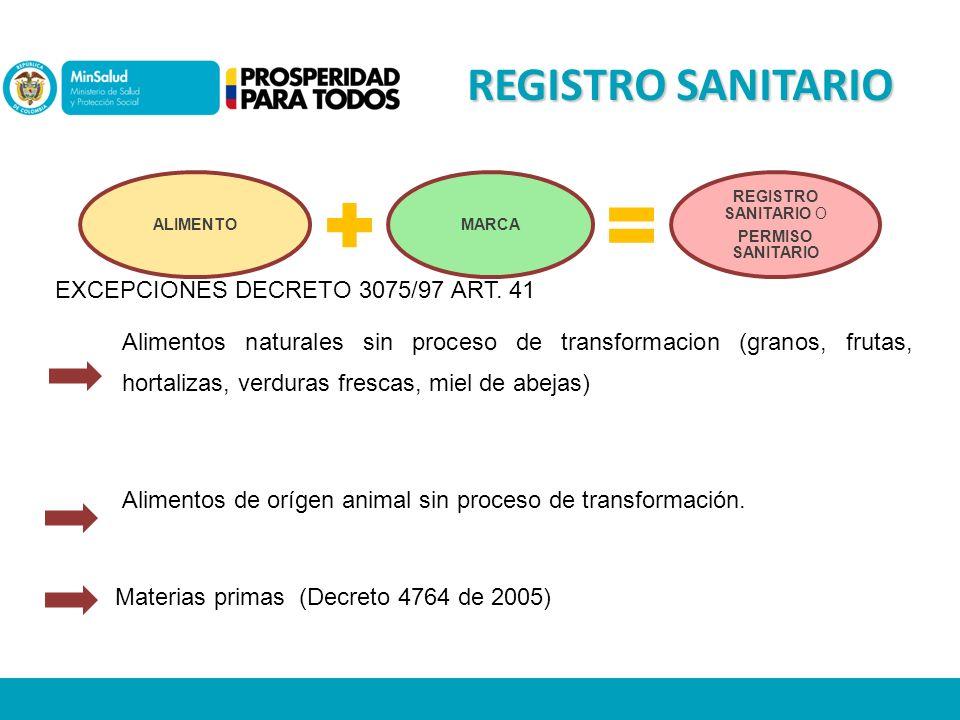 REGISTRO SANITARIO EXCEPCIONES DECRETO 3075/97 ART. 41