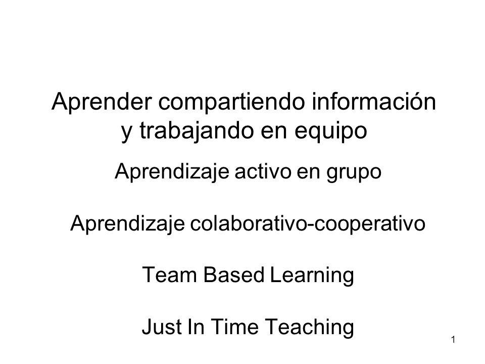 Aprender compartiendo información y trabajando en equipo