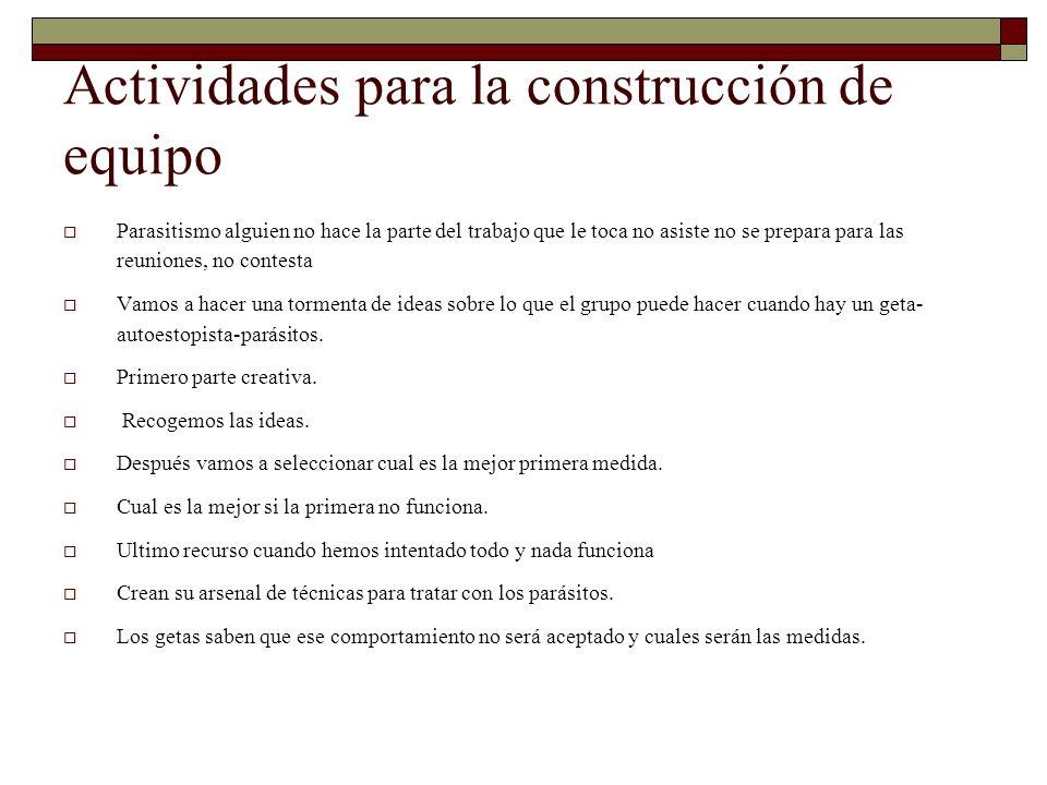 Actividades para la construcción de equipo