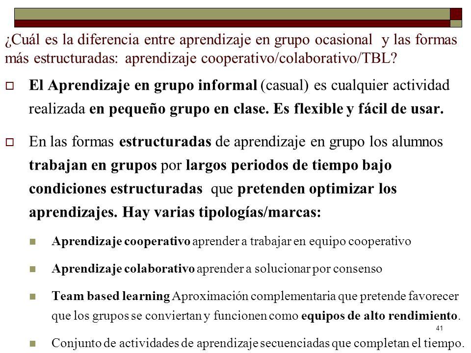 ¿Cuál es la diferencia entre aprendizaje en grupo ocasional y las formas más estructuradas: aprendizaje cooperativo/colaborativo/TBL